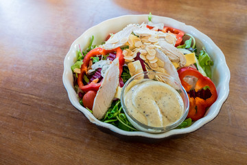 Chicken salad with dressing.