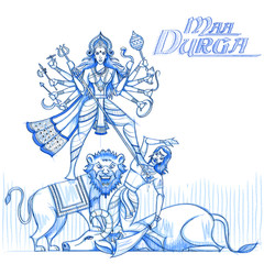 Indian Goddess Durga in sketchy look