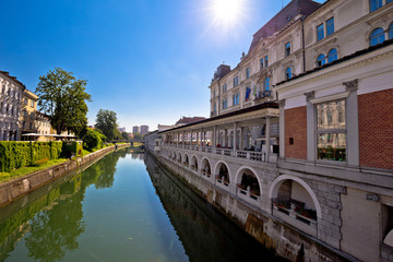 Ljubljana river and city riverfront view