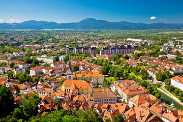 City of Ljubljana and mountains aerial view