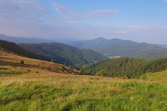 paysage montagneux des Vosges, petit ballon d'Alsace, France