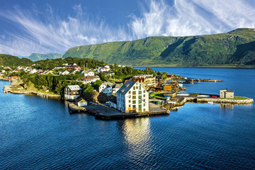 Alesund, Norway. Sea view on houses on island, Norway