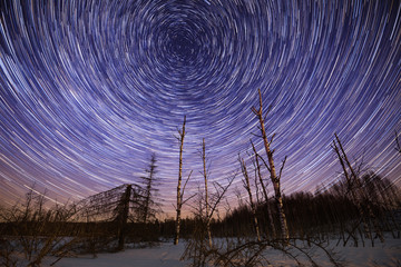 Winter star trails with Polaris