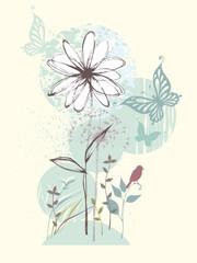 Hand drawn floral design with butterflies, birdie, flower and dandelion.