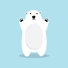 Polar bear cartoon character. A Cute Polar bear standing on blue background. Flat design Vector illustration.