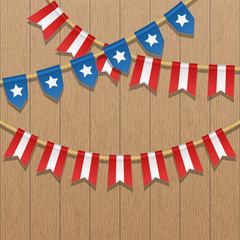 Vector colorful bunting decoration in colors of USA flag on a wooden background. Garland, pennants on a rope for american party, carnival, celebration. Patriotic illustration with stars and stripes.