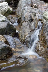 Rocks in stream with flowing water.