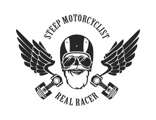 retro emblem motorcyclist