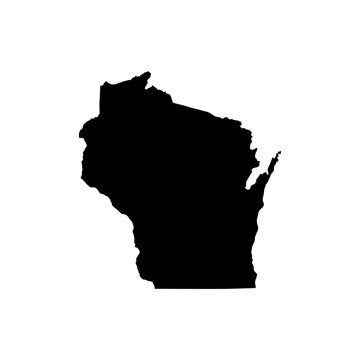 Wisconsin State vector map isolated on white background. High detailed silhouette illustration.
