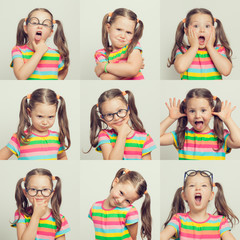 beautiful cute little girl face portrait. child gestures