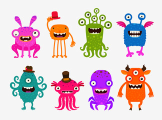 Fun cute cartoon monsters. Set icons vector illustration