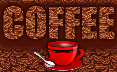 Fresh Coffee Beans Illustration with Caption Text, Coffee Mug and Spoon