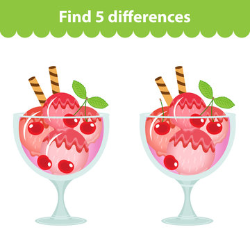 Children's educational game. Find the 5 differences in the picture. Ice cream image for the game Find the 5 differences. Find the difference game. Vector illustration.