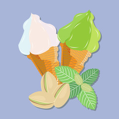 The composition of two waffle cones with ice cream, nuts, pistachio and mint leaves