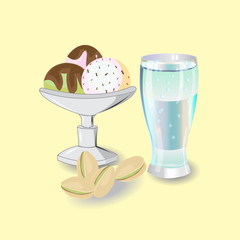 sundae with three scoops of ice cream, berries, pistachio and cream with chocolate chips and chocolate syrup, a glass of cold sparkling water, vector illustration