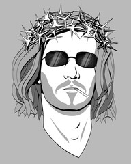 Jesus Christ, a black and white monochrome. Long hair, a crown of thorns, sunglasses, cigarette, shading. The man's head, bust. Long hair. The religious significance. Vector.