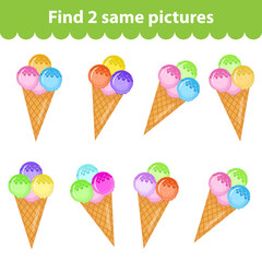Children's educational game. Find two same pictures. Set of ice cream for the game find two same pictures. Vector illustration.