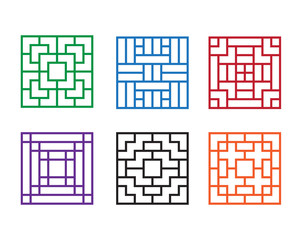 Modern Chinese pattern window in square concept