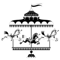 Vintage carousel with horses. Black and white.
