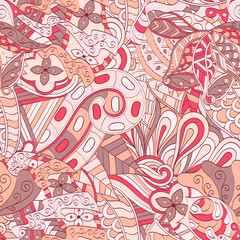Tracery seamless calming pattern. Mehendi design. Ethnic colorful red doodle texture. Indifferent discreet. Curved doodling mehndi motif. Vector.