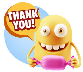 3d Rendering. Candy Gift Emoticon Face saying Thank You with Col