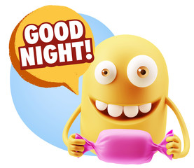 3d Rendering. Candy Gift Emoticon Face saying Good Night with Co