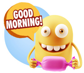 3d Rendering. Candy Gift Emoticon Face saying Good Morning with