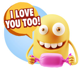 3d Rendering. Candy Gift Emoticon Face saying I Love You Too wit