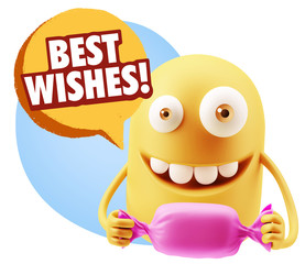 3d Rendering. Candy Gift Emoticon Face saying Best Wishes with C
