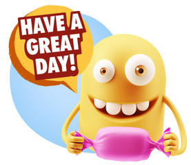 3d Rendering. Candy Gift Emoticon Face saying Have A Great Day w