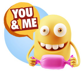 3d Rendering. Candy Gift Emoticon Face saying You And Me with Co