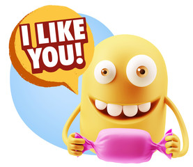 3d Rendering. Candy Gift Emoticon Face saying I Like You with Co