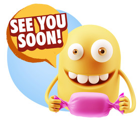 3d Rendering. Candy Gift Emoticon Face saying See You Soon with