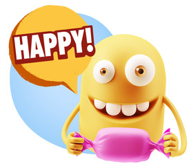 3d Rendering. Candy Gift Emoticon Face saying Happy with Colorfu
