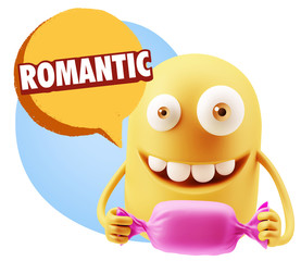 3d Rendering. Candy Gift Emoticon Face saying Romantic with Colo