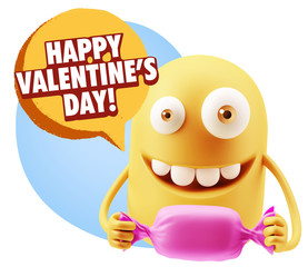 3d Rendering. Candy Gift Emoticon Face saying Happy Valentine's