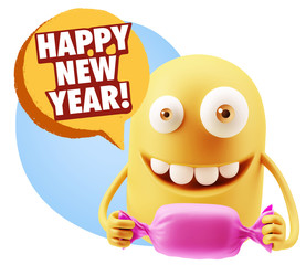 3d Rendering. Candy Gift Emoticon Face saying Happy New Year wit