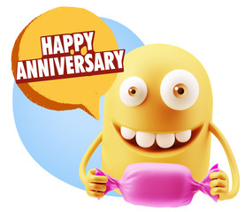 3d Rendering. Candy Gift Emoticon Face saying Happy Anniversary