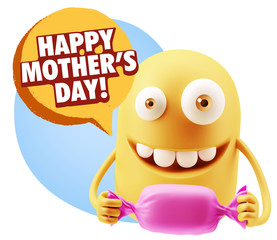 3d Rendering. Candy Gift Emoticon Face saying Happy Mother's Day