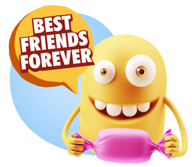 3d Rendering. Candy Gift Emoticon Face saying Best Friends Forev
