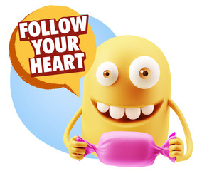 3d Rendering. Candy Gift Emoticon Face saying Follow Your Heart