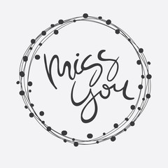 Vector Hand Lettering Miss You Card