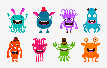 Cute cartoon monsters. Alien or ghost set of icons. Vector illustration
