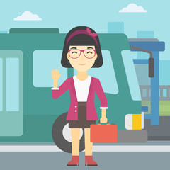 Woman travelling by bus vector illustration.