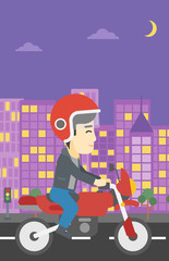 Man riding motorcycle vector illustration.
