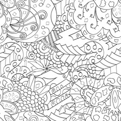 Tracery seamless calming pattern. Mehendi design. Ethnic monochrome binary doodle texture. Black and white. Indifferent discreet. Curved doodling mehndi motif. Vector.