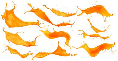 Collection set of orange color splashes isolated on white background / Sammlung Set orangener Farbspritzer isoliert