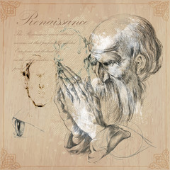 Hand drawn illustrations.Old bearded man.Praying hands.Pencil technique converted into vector. Hand drawn illustrations. Freehand. Pencil sketches. Hands by Albrecht Durer personal, author own copy.
