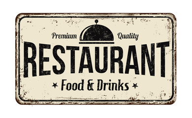 Restaurant vintage metal sign