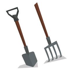 Agricultural shovel and pitchfork.